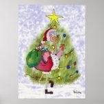 Poster caprichoso de las Felices Navidad del flame