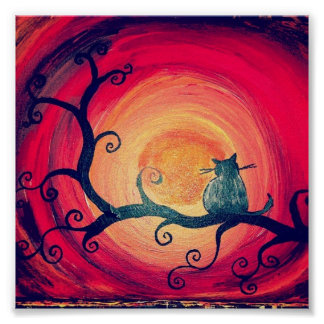 Poster caprichoso de medianoche del gato
