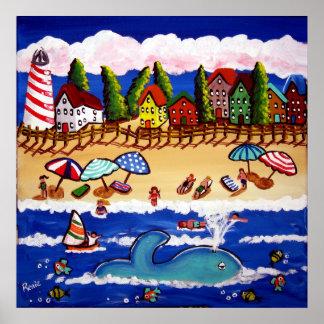 Poster caprichoso del arte popular de la ballena d
