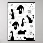 Poster caprichoso negro de los gatos