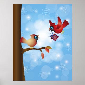 Poster cardinal rojo de los pares del navidad