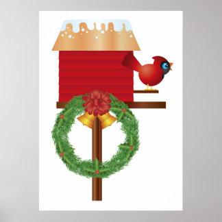 Poster cardinal rojo del navidad