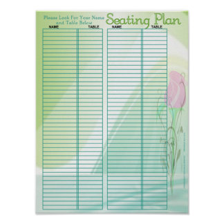 Poster/carta elegantes del asiento del boda