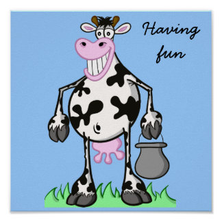 "POSTER ""cartoon"" funny cow"