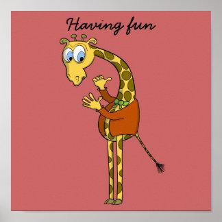 """POSTER """"cartoon"""" funny GIRAFFE"""