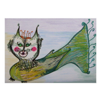 Poster - Cat - Whimsical - Queen Cat Fish