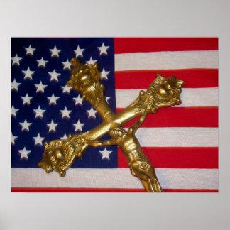 Poster católico de la bandera de los E.E.U.U. del