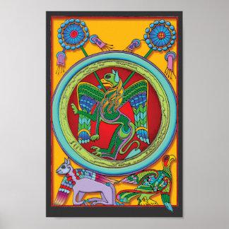 Poster céltico colorido de la impresión del art dé