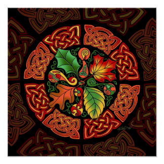 Poster céltico de la bella arte de las hojas de ot