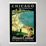 Poster central del viaje del vintage de Chicago -