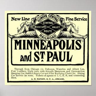 Poster central del vintage del ferrocarril de póster
