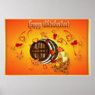 Poster Cerveza-Feliz grande de Oktoberfest