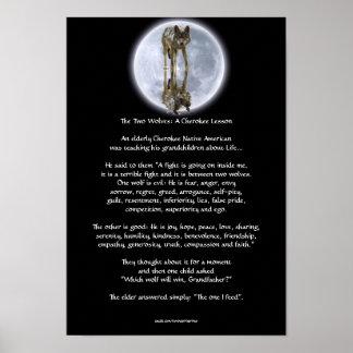 Poster CHEROKEE del arte del CUENTO de los LOBOS