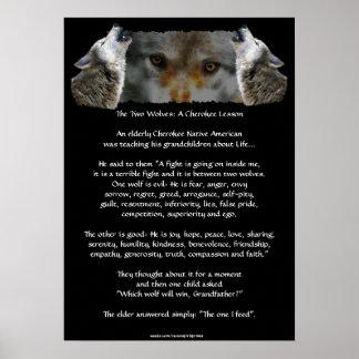 Poster CHEROKEE del lobo de la HISTORIA de DOS