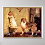 Poster: Chica con el mascota Sheltie