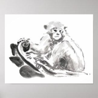 Poster chino 2016 del año del mono de la pintura