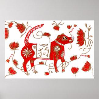 Poster chino de la astrología del perro