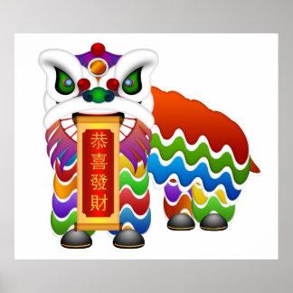 Poster chino de la danza de león del Año Nuevo