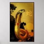 Poster chino de la serpiente del zodiaco