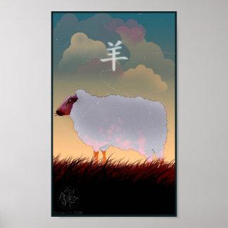 Poster chino de las ovejas del zodiaco