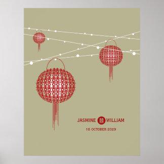 Poster chino del boda de las linternas dobles de
