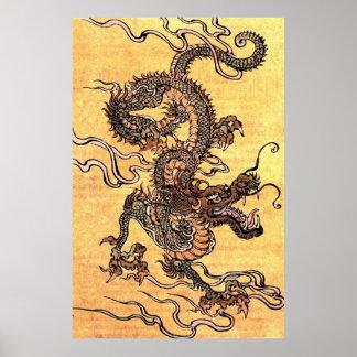 Poster chino del dragón del vintage