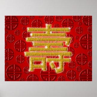 Poster chino del feliz cumpleaños del carácter de