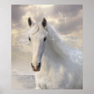 Poster chispeante del caballo blanco