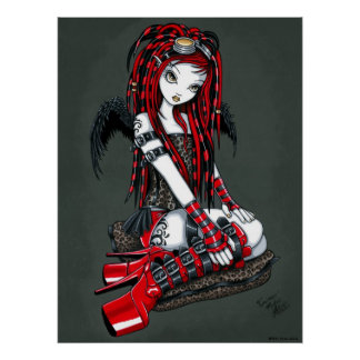 Poster cibernético del ángel del gótico del tatuaj