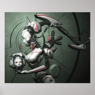Poster cibernético del geisha