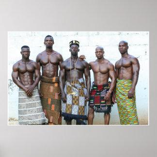 Poster, cinco guerreros, d'Ivoire de Cote, África