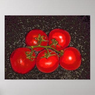 Poster - cinco tomates en la vid