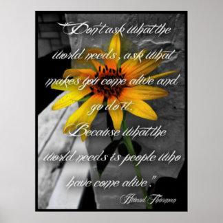 Poster, cita de Howard Thurman del girasol