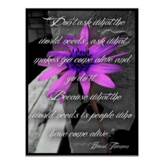 Poster, cita púrpura de Howard Thurman del girasol Póster