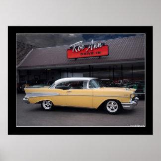 Poster clásico 1957 del autocinema del coche del B