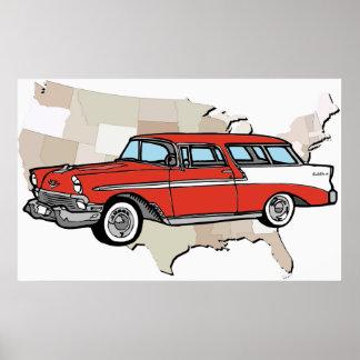Poster clásico 1957 del coche del nómada de Chevy