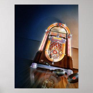 Poster clásico de la máquina tocadiscos póster