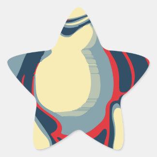 Poster clásico de obama del pingüino del tux de pegatina en forma de estrella