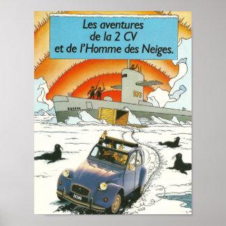 Poster clásico del vintage de Citroen 2cv, diseño Póster