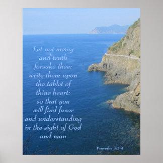 Poster--Cliffs at Cinque Terre Prov 3:3-4 Poster