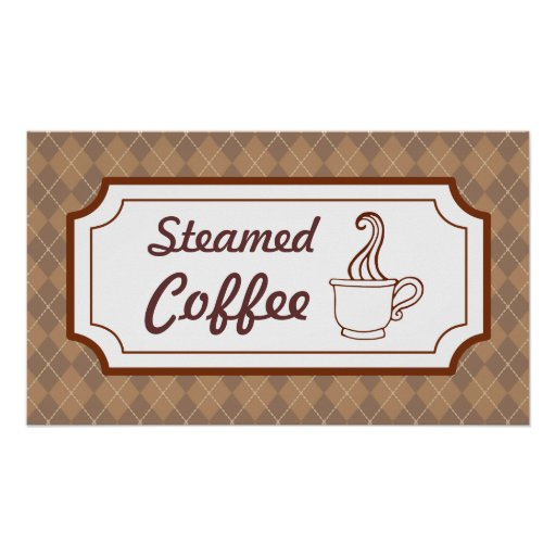 Poster cocido al vapor de la muestra del café
