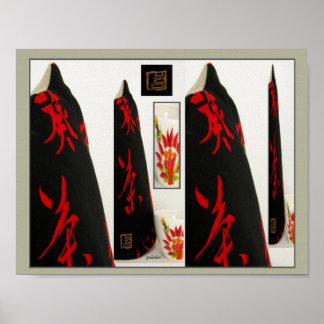 Poster - collage acogedor japonés de té del kanji