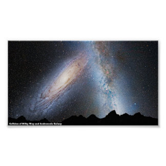 Poster: Collision of Milky Way and Andromeda Galax Poster