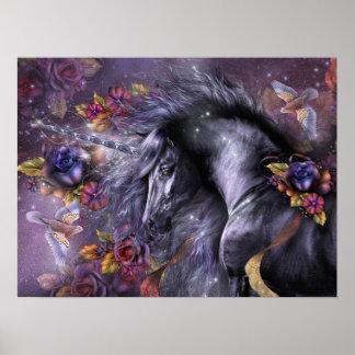 Poster color de rosa azul del arte del unicornio