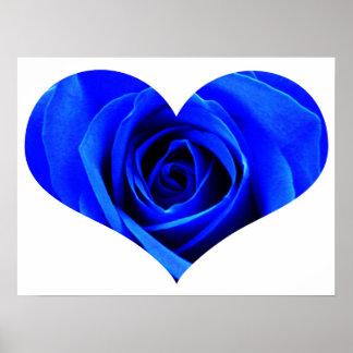 Poster color de rosa azul del corazón