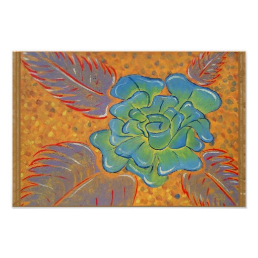 Poster color de rosa azul del estilo de la pintada