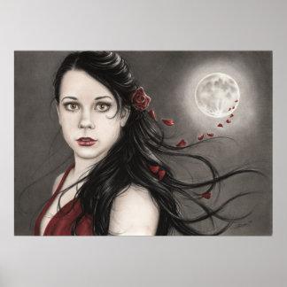 Poster color de rosa de medianoche