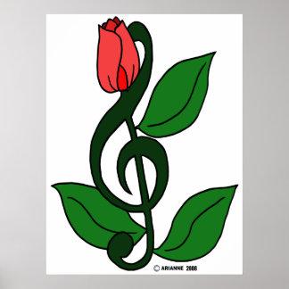 Poster color de rosa del Clef