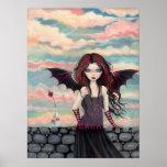 Poster color de rosa gótico de la hada del vampiro