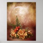 Poster color de rosa romántico de la fantasía